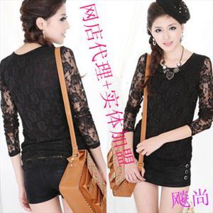 厂家直销 2012新款韩版时尚 气质 修身 蕾丝玫瑰 长袖T恤 1151