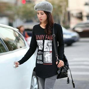 2012BS新款韩版女装 长袖长款宽松t恤 纯棉印花打底衫 1201