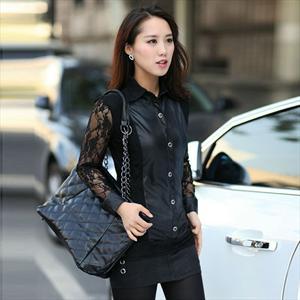 厂家直销 2012飚尚l蕾丝+仿皮,韩版大码女装 1230 免费加盟