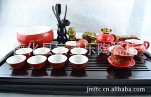 厂家直销 15头红釉黄金龙功夫茶具 家美乐陶瓷整套茶具