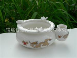 厂家供应-玉瓷白身双用高温陶瓷烟灰缸