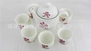 厂家直供-7头桃花双层陶瓷套装茶具 红茶茶具 1壶6杯