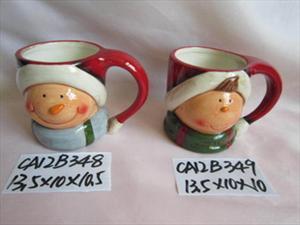 白云土手绘陶瓷圣诞节产品系列-房子-老公-雪人-圣诞糖果罐