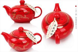 熙客 红瓷套装 陶瓷茶具 新品茶具 中国红—黄金龙 XKTC17