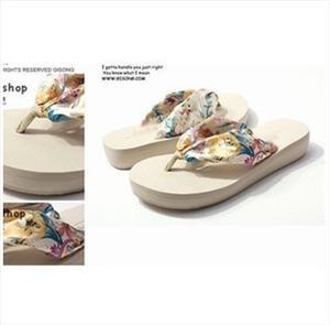 春夏波西米亚拖鞋批发网店爆款丝绸拖鞋坡跟拖鞋承接订单