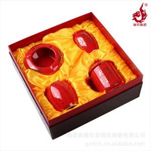 中国红瓷,水杯 烟灰缸 笔筒 茶叶罐四件套 沁园春毛泽东诗词