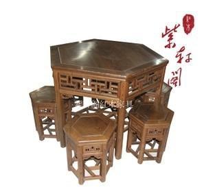 鸡翅木家具/红木六角餐桌7件套/实木餐凳/仿古原木/中式宫廷古典