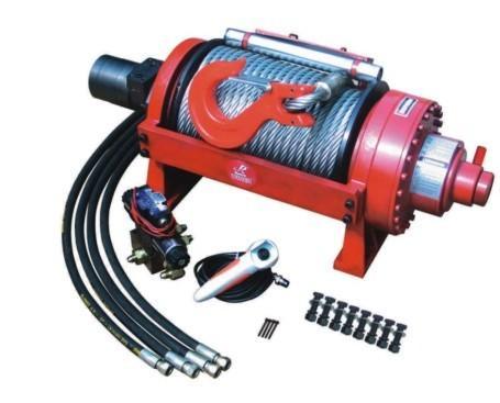 液压绞盘由液压马达,制动器,卷筒与行星齿轮减速器组成,装于车辆上,由图片