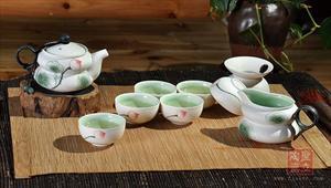 新品茶具 手绘 荷语(绿)系列之福禄 高档礼品茶具 厂家直销