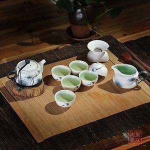 新品茶具 手绘 荷语(墨)系列之福禄 高档礼品茶具 厂家直销