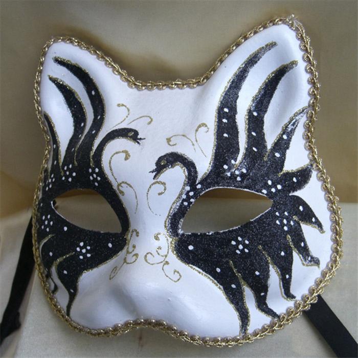 假日装扮道具手绘猫脸假面舞会面具纸浆成人面具