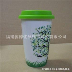 供应陶瓷星巴克杯 陶瓷双层杯 广告礼品杯 许愿树系类 来样定做