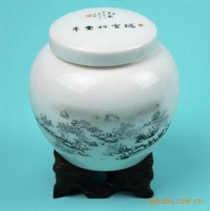 鼎艺陶瓷罐 鼓型茶叶陶瓷罐 瑞雪兆丰年陶瓷罐 玉瓷茶叶罐