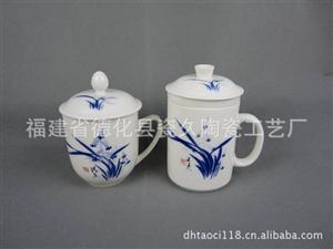 德化低价供应手绘兰花瓷器杯子套装 LOGO烧制瓷器杯子套装