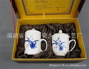 德化厂家供应手绘兰花白瓷杯子套装 LOGO烧制高档白瓷杯子套装