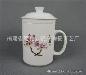德化厂家供应中国白瓷 并蒂莲三件套杯 可按客户LOGO丝印订制