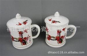 德化厂家供应梅花瓷杯套装 LOGO订制环保瓷杯套装