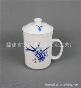手绘兰花陶瓷环保杯 LOGO烧制环保杯 高档商务环保杯