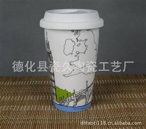 德化陶瓷厂家专业生产星巴克双层杯