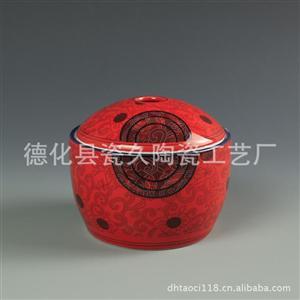 低温釉上彩红色瓷器谷仓罐 陶瓷包装容器 客户LOGO订彩写字