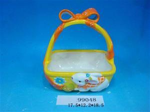 复活节陶瓷篮子  德化西洋工艺陶瓷 陶瓷花篮