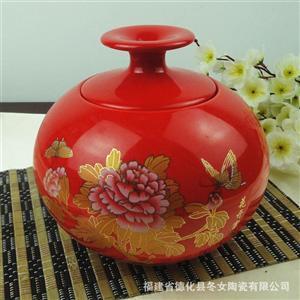 陶瓷茶叶罐 密封罐 茶包装 茶叶盒 陶瓷罐 茶叶罐 中国红 金牡丹