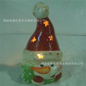 镂空圣诞节烛台 陶瓷烛台 圣诞节烛台摆件 圣诞老人烛台