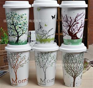 双层杯陶瓷 星巴克陶瓷杯批发  淘宝陶瓷  创意陶瓷 茶杯包装盒