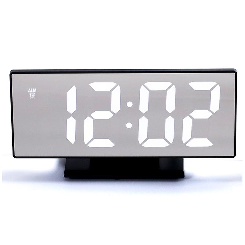 厂家直销 LED多功能大屏幕电子钟 静音镜面闹钟