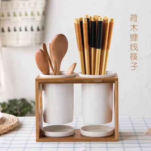 荷木 原木筷子绑线 实木尖头日式家用筷子 批发定制