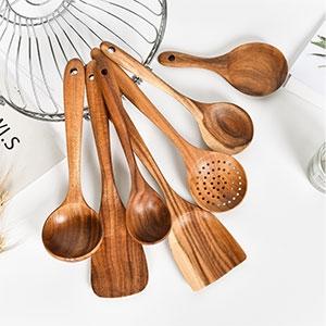 厂家直销柚木铲勺木质汤勺不粘锅铲煎铲油勺炒菜铲木勺子厨具套装
