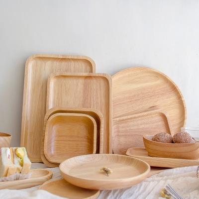 橡胶木托盘长方形盘子圆形酒店实木披萨盘果盘原木茶盘厂家直销