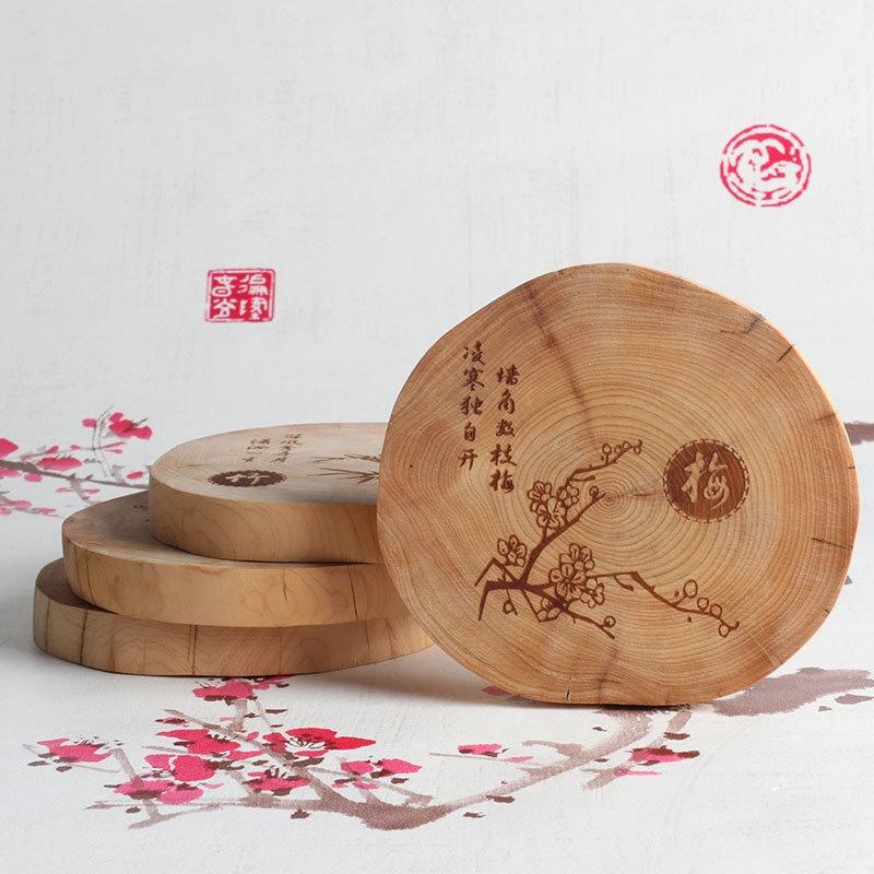 批發崖柏雕刻茶杯墊隔熱底座木質茶杯墊崖柏餐桌防燙杯墊木質禮品