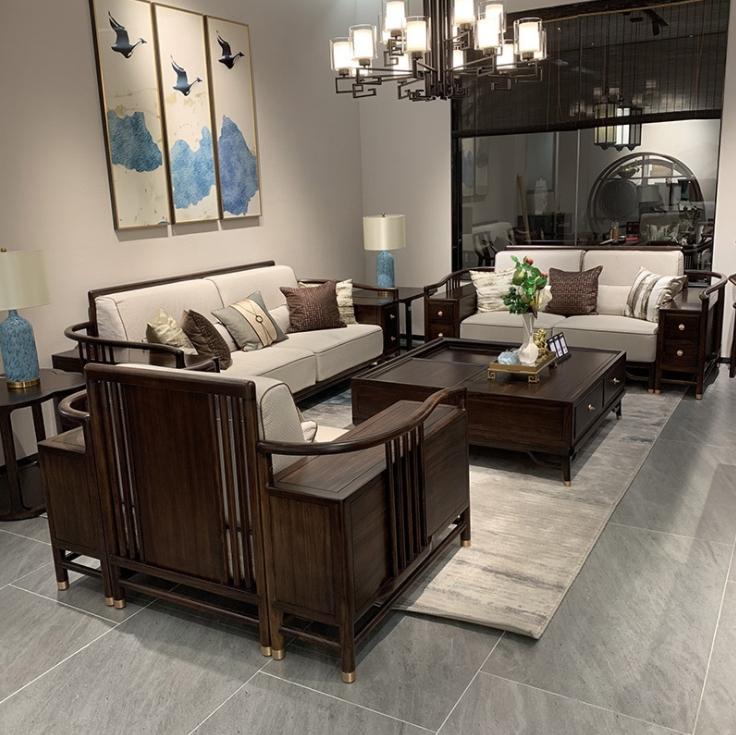 新中式沙發組合現代簡約實木禪意烏金木沙發客廳別墅會所高檔家具