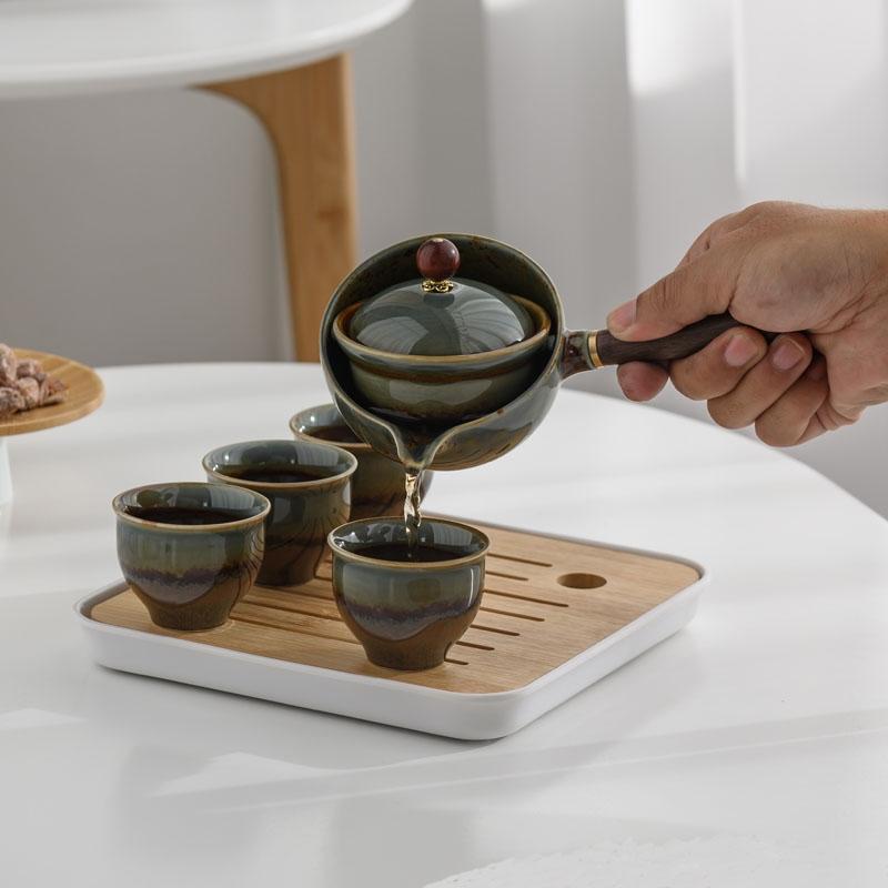 陶瓷功夫茶具礼品套装办公室家用简约自动泡茶器便携旅行茶具套装