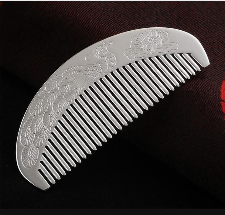 银梳子白铜真空镀999银梳半圆发梳手工精雕打磨发饰新品厂家直销