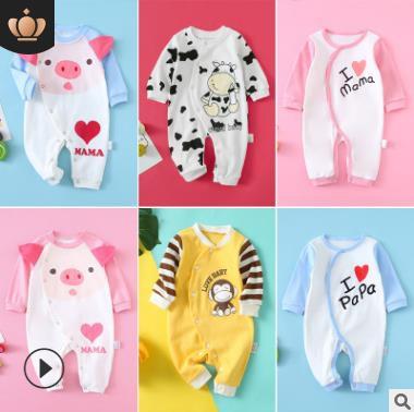 ins童装新生儿衣服春秋婴儿连体衣长袖 宝宝爬服婴幼儿服饰批发