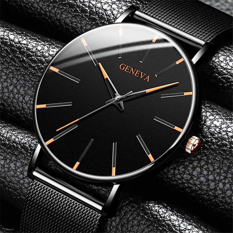 時尚商務休閑男士大表盤手表 雙機芯石英手表 無LOGO男表