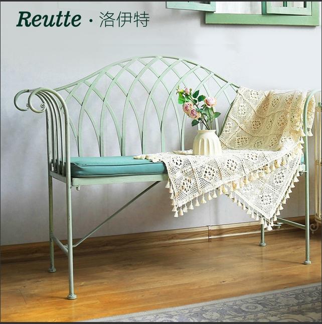 鐵藝雙人長椅公園復古歐式戶外花園折疊沙發戶外家具戶外桌椅