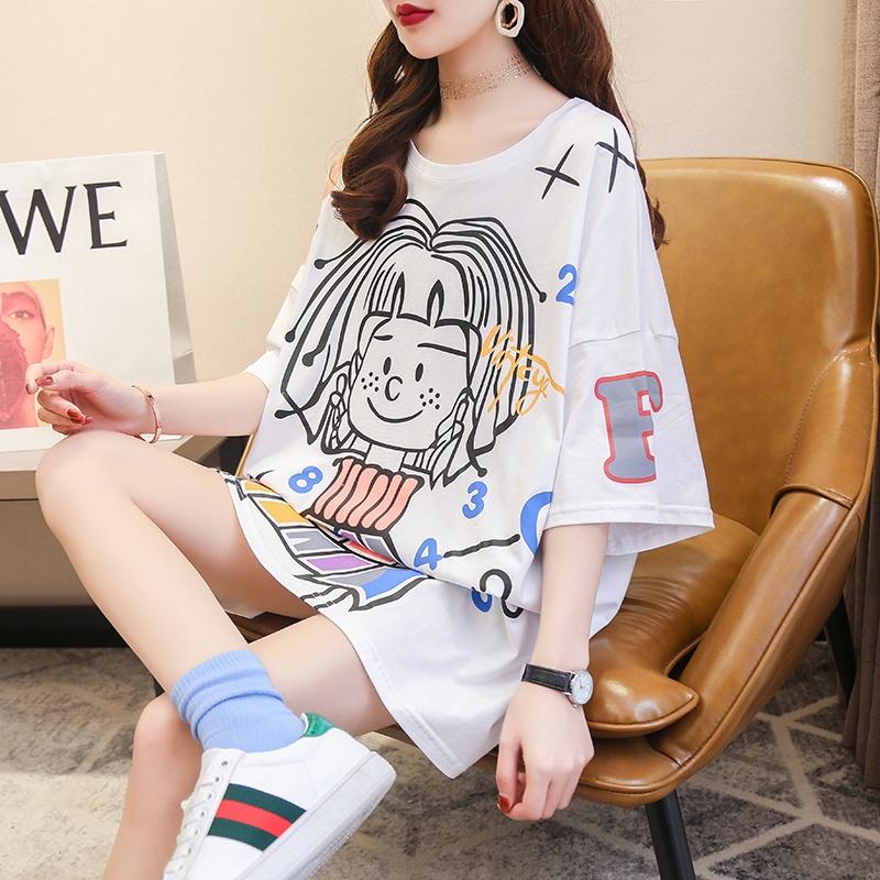 韓版大碼圓領t恤女短袖寬松中長款時尚印花體恤衫2020夏季新款棉T