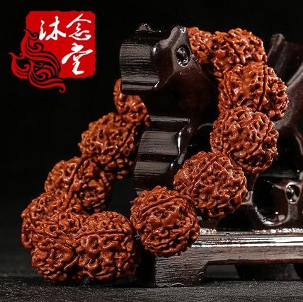 包郵尼泊爾金剛菩提佛珠手串黃皮原籽五六瓣爆肉龍紋手鏈廠家直銷