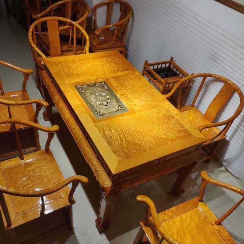 金絲楠木茶桌椅組合實木紅木茶臺整套實木泡茶桌高端紅木桌休閑桌