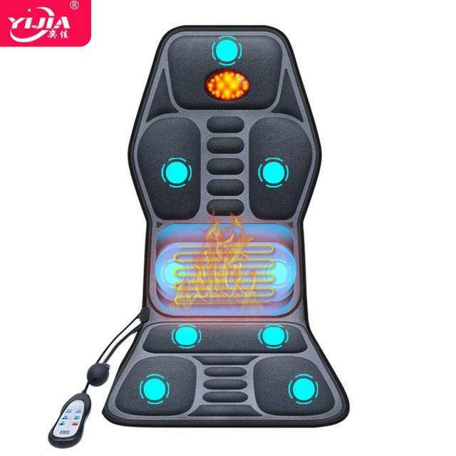 多功能家用車載按摩器腰部牽引按摩墊背部熱敷汽車按摩坐墊靠椅墊