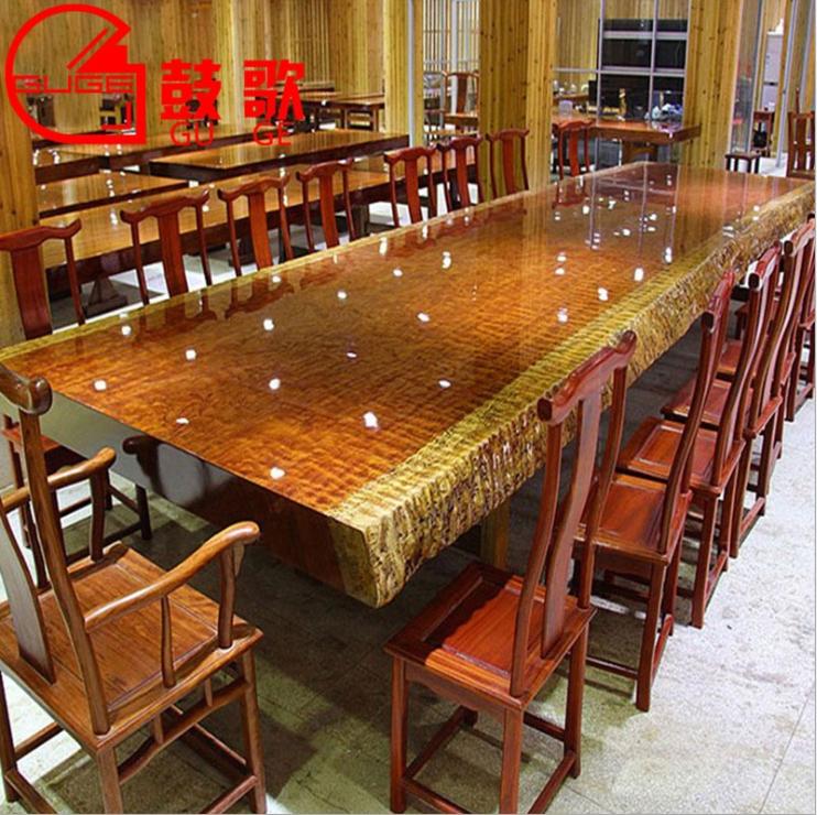 巴花大板桌实木大板桌实木大板巴花大板原木奥坎大板桌茶桌大班桌