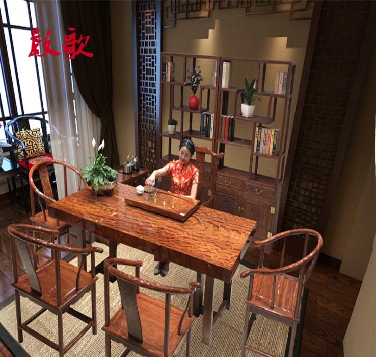 巴花大板桌實木大板桌奧坎大板胡桃木黃花梨辦公桌原木會議桌組合