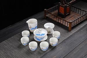 羊脂玉茶具套装家用羊脂玉陶瓷功夫茶具公司开业赠品礼品定制logo