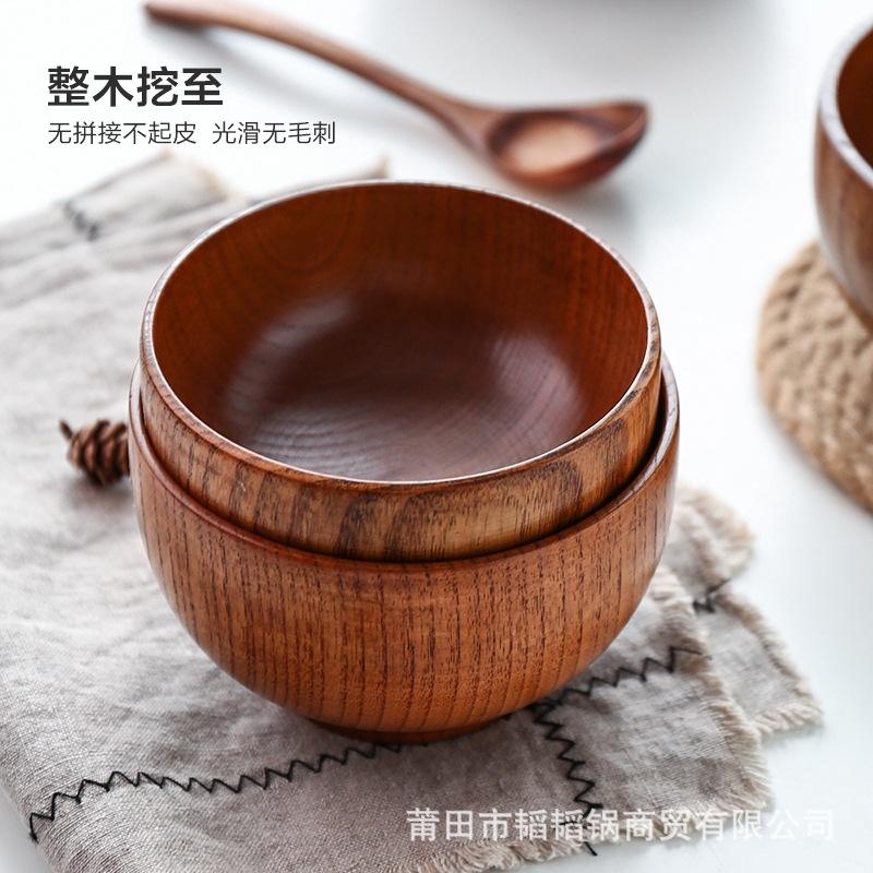 日式木碗酸枣木头碗创意儿童饭碗大号圆形汤碗餐具可定制logo