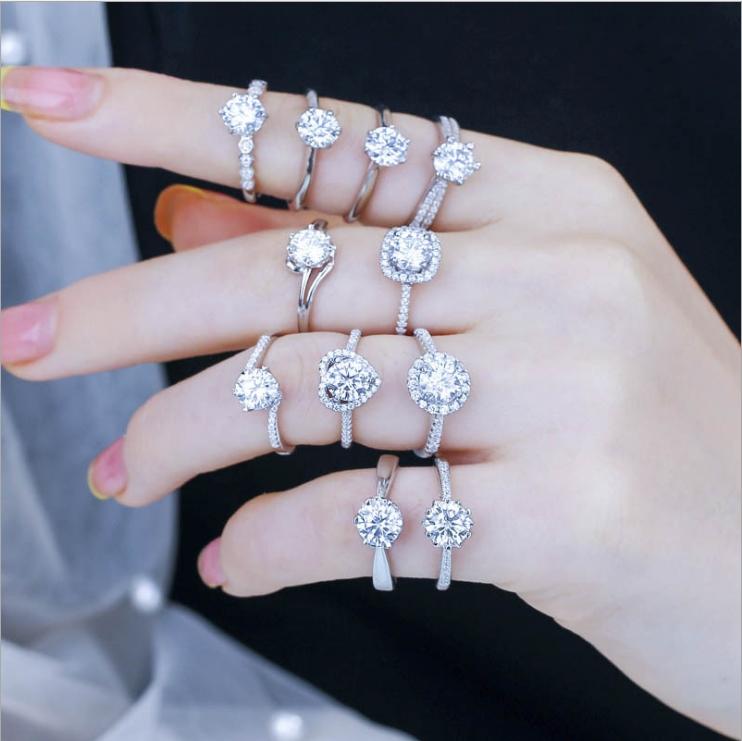 s925莫桑钻戒指女一克拉个性六爪开口七夕情人节表白礼物直播代发