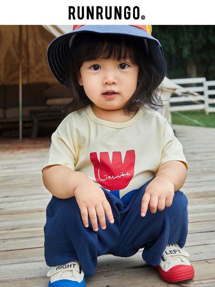 runrungo童装夏季儿童卡通印花T恤2020夏季新款透气吸汗薄款短袖