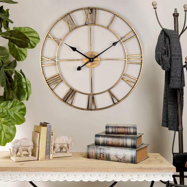 亚马逊欧式客厅时尚静音挂钟金属壁挂钟表圆形镂空铁艺